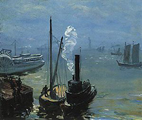 William Glackens Tugboat and Lighter
