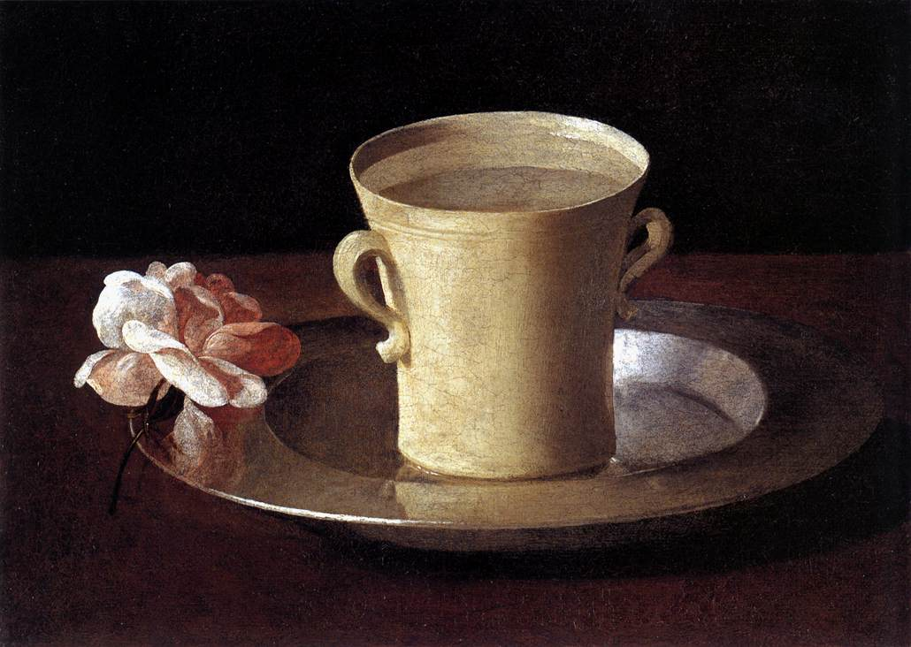 ZURBARAN Francisco de Cup of Water and a Rose on a Silver Plate