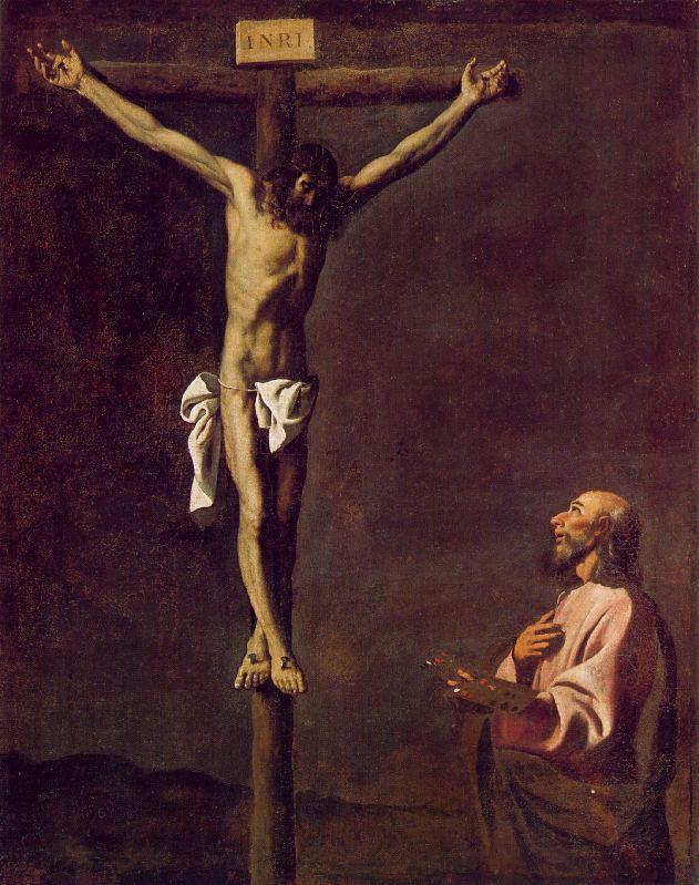 ZURBARAN Francisco de Saint Luke as a Painter before Christ on the Cross