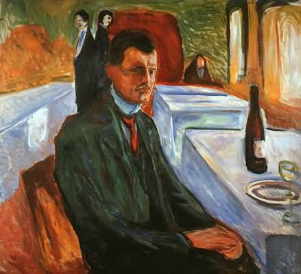 Edvard Munch Self Portrait with a Wine Bottle