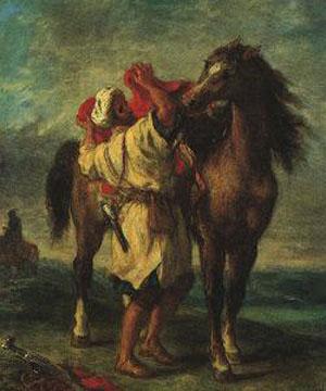 Eugene Delacroix A Moroccan Saddling his Horse
