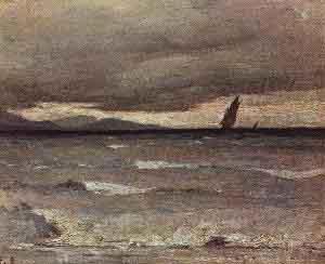 Francois Bocion Orage sur le Leman, effet de vagues
