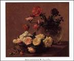 Henri Fantin Latour Cristal Et Un Panier De Roses