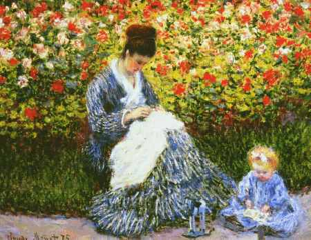 Camille Monet and Child in the Garden