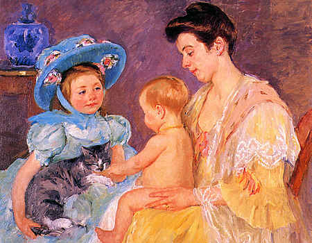 Children Playing with a Cat