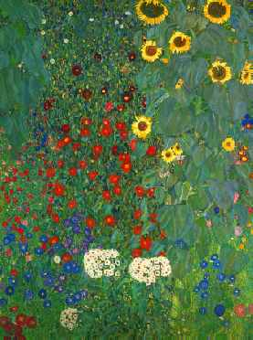Farm Garden with Sunflowers (portrait detail)