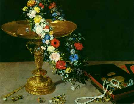 Gold Cup with Flower Wreath and Jewel Box (detail)