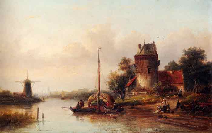 A River Landscape In Summer With A Moored Haybarge By A Fortified Farmhouse