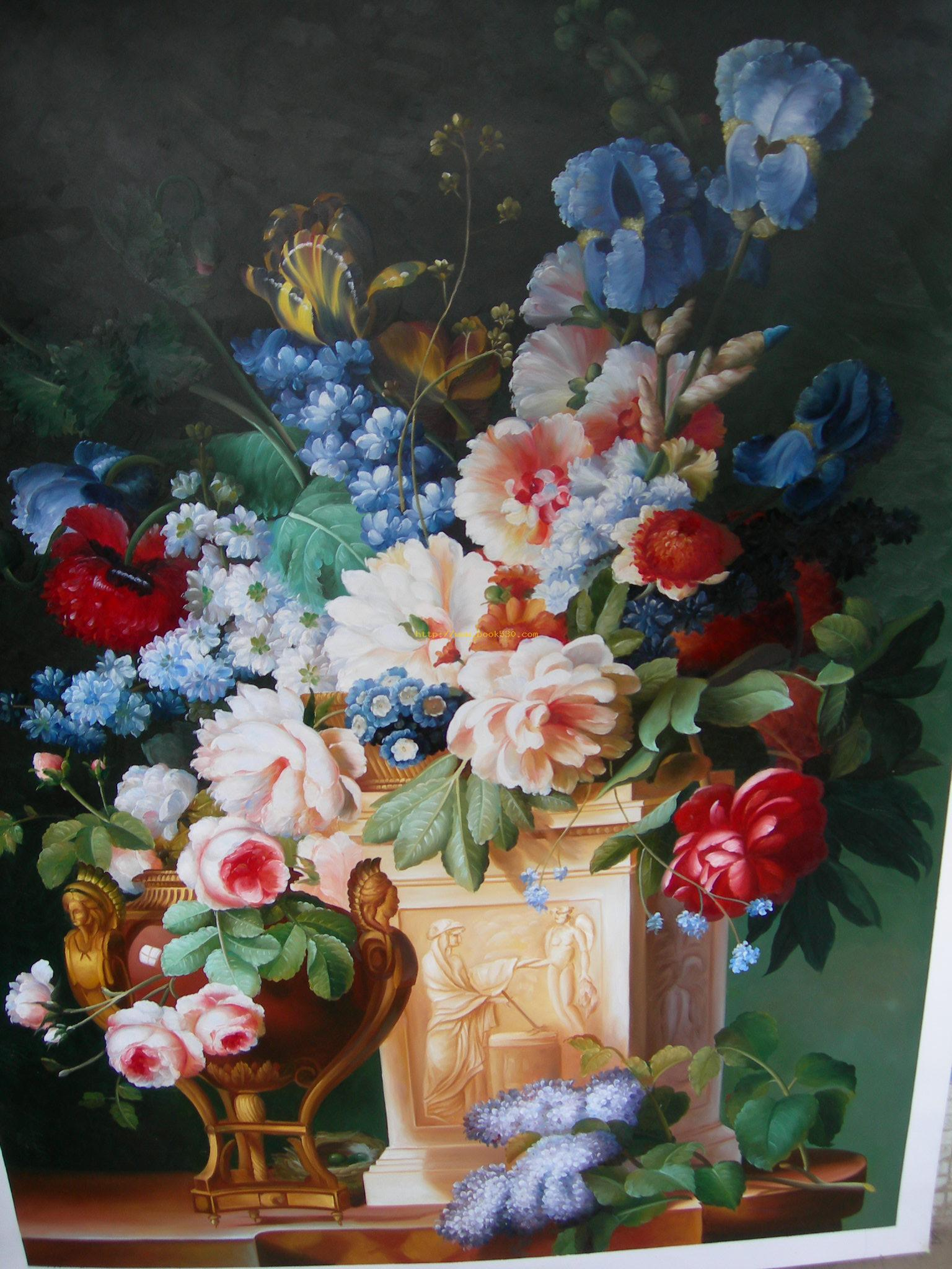 Classical flower oil painting classical flower oil paintings for Flower paintings on canvas