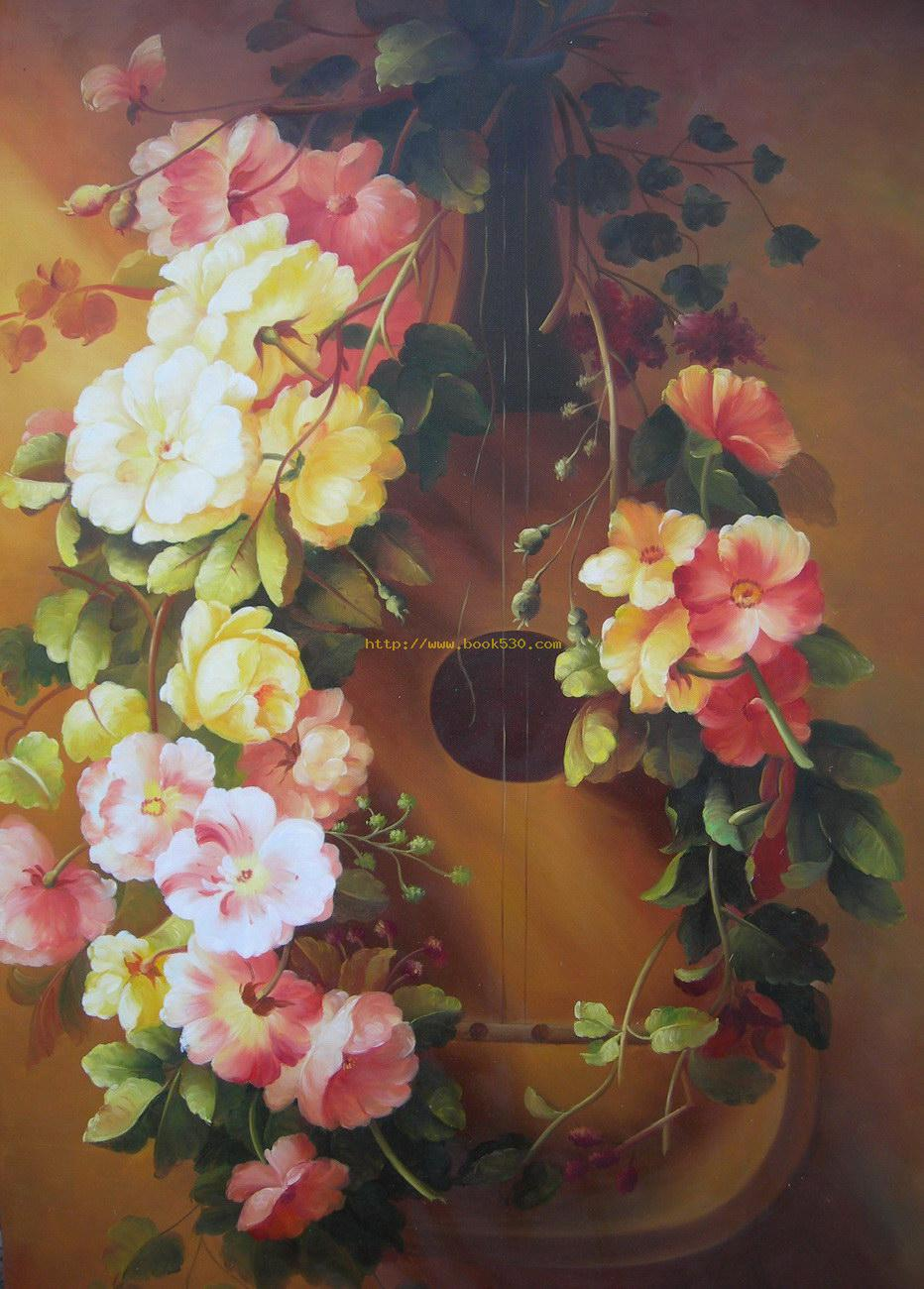 Classical flower oil painting classical flower oil for Flower paintings on canvas