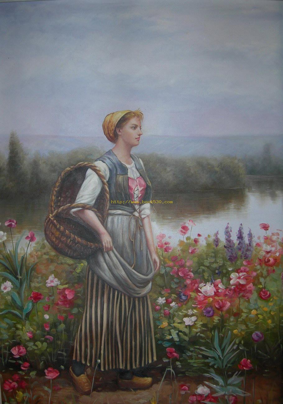 Pastoral landscape oil painting