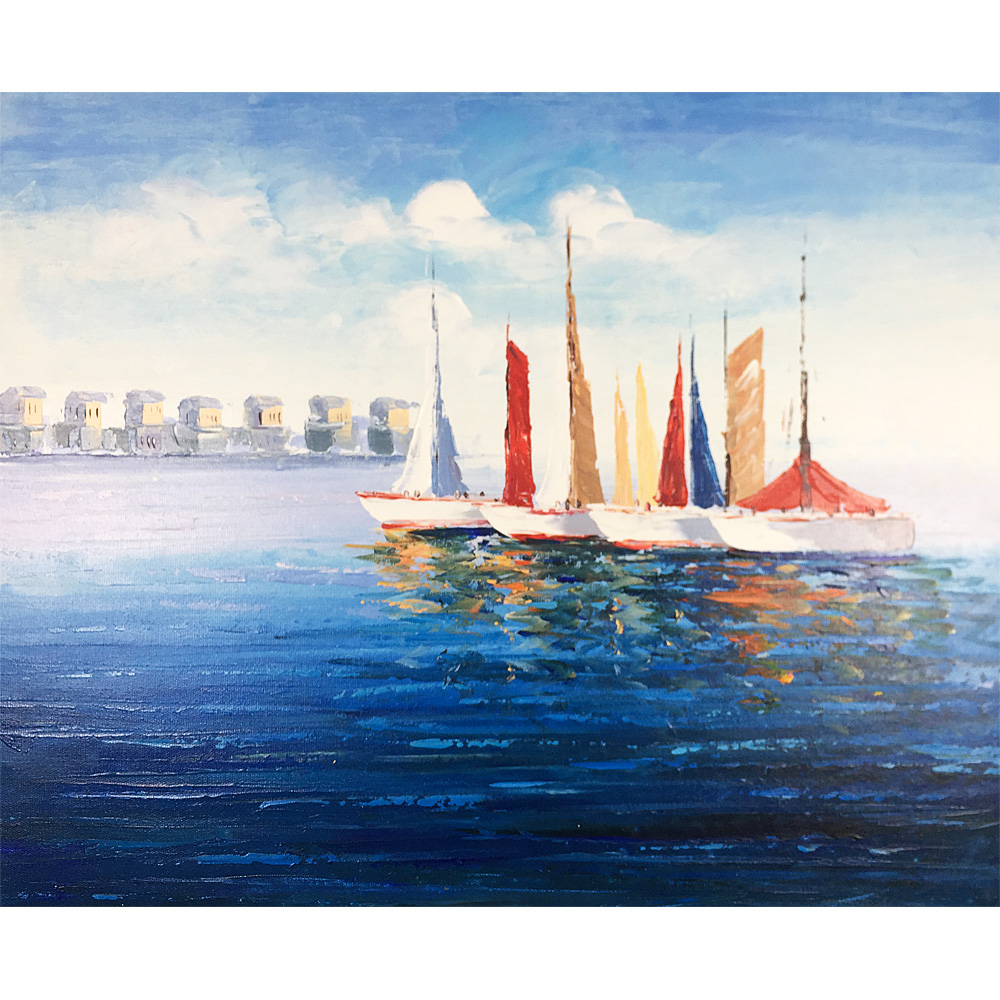 Modern Abstract Canvas Oil Paintings Hand Painted Wall Art Beautiful Boat Chinese Handmade Art