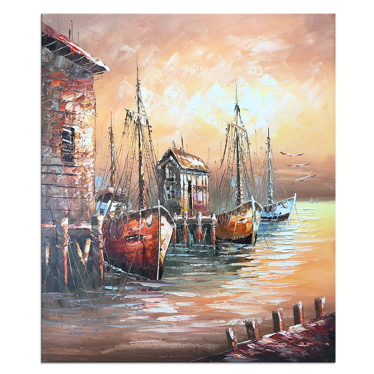 Modern Abstract Landscape Hand Painted Oil Painting Canvas Stretched Ready to Hang Pier Ferry Wall
