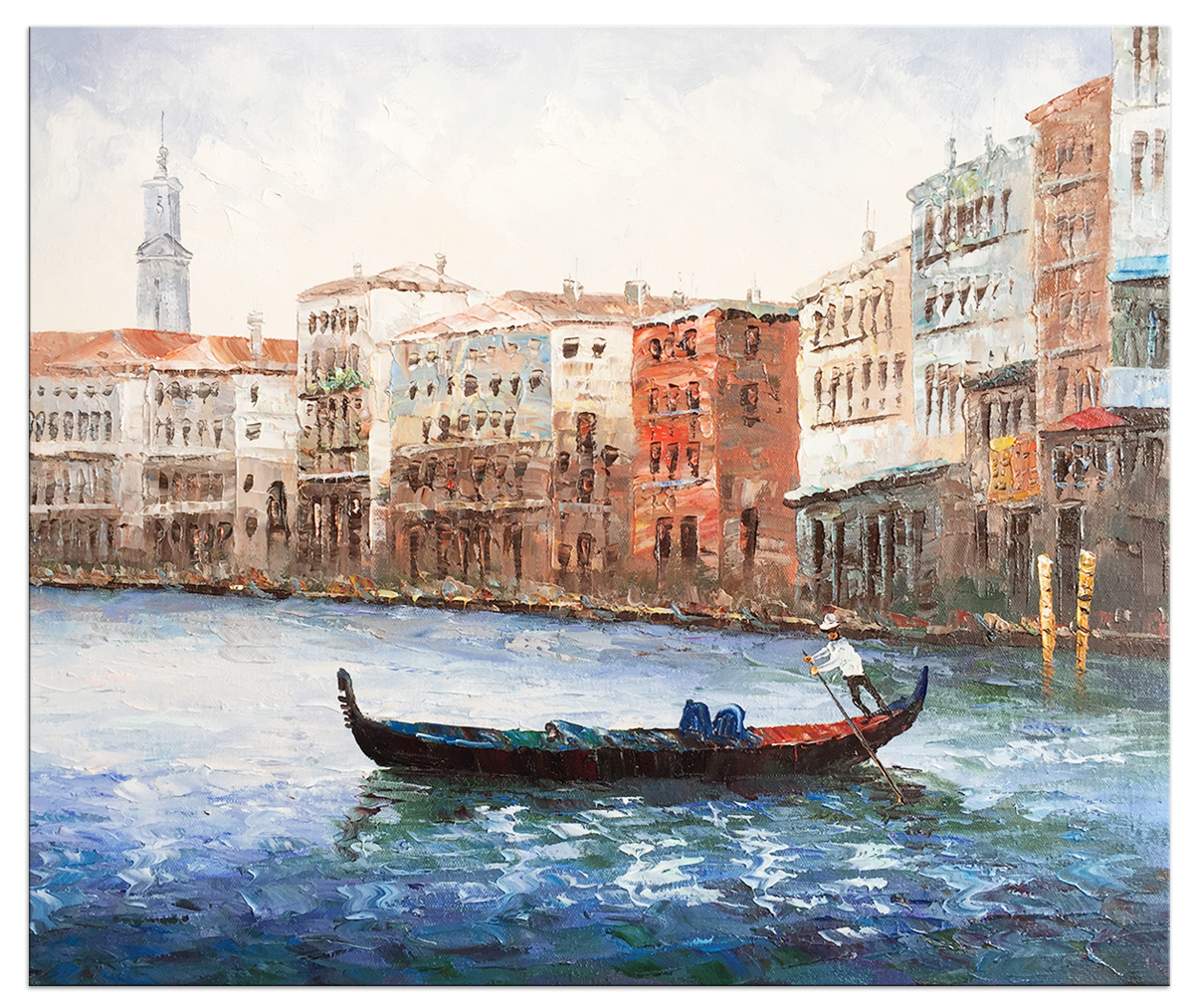 Hand Painted Oil Paintings Stretched Framed Ready to Hang Venice Modern Abstract Painting Canvas