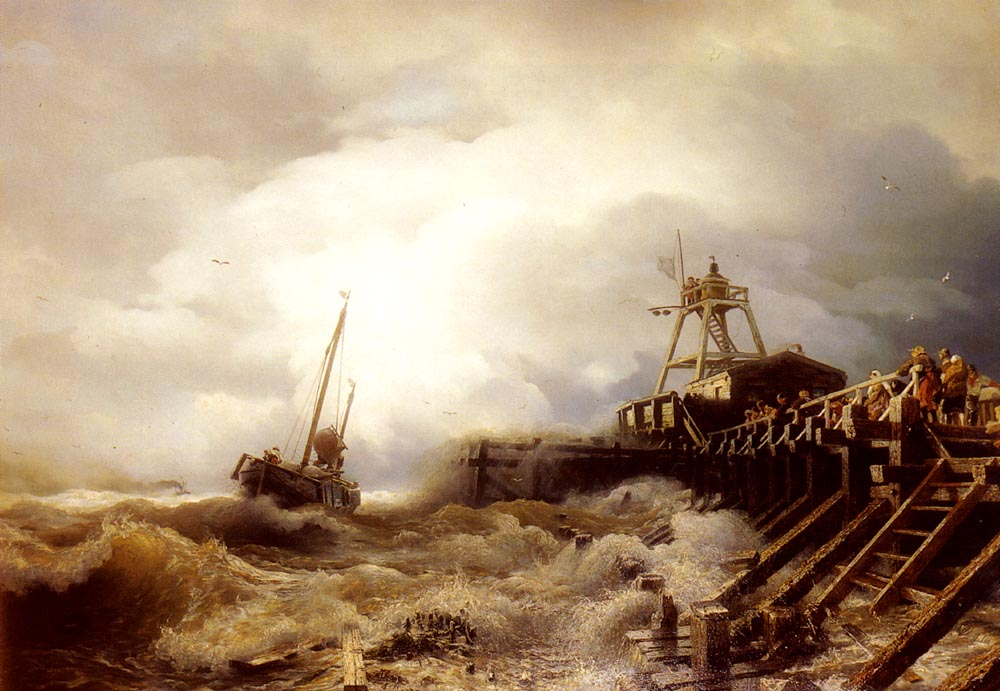 A Fishing Boat Caught In A Squall Off A Jetty