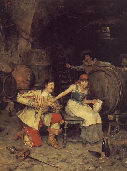 Flirtation in the Wine Cellar