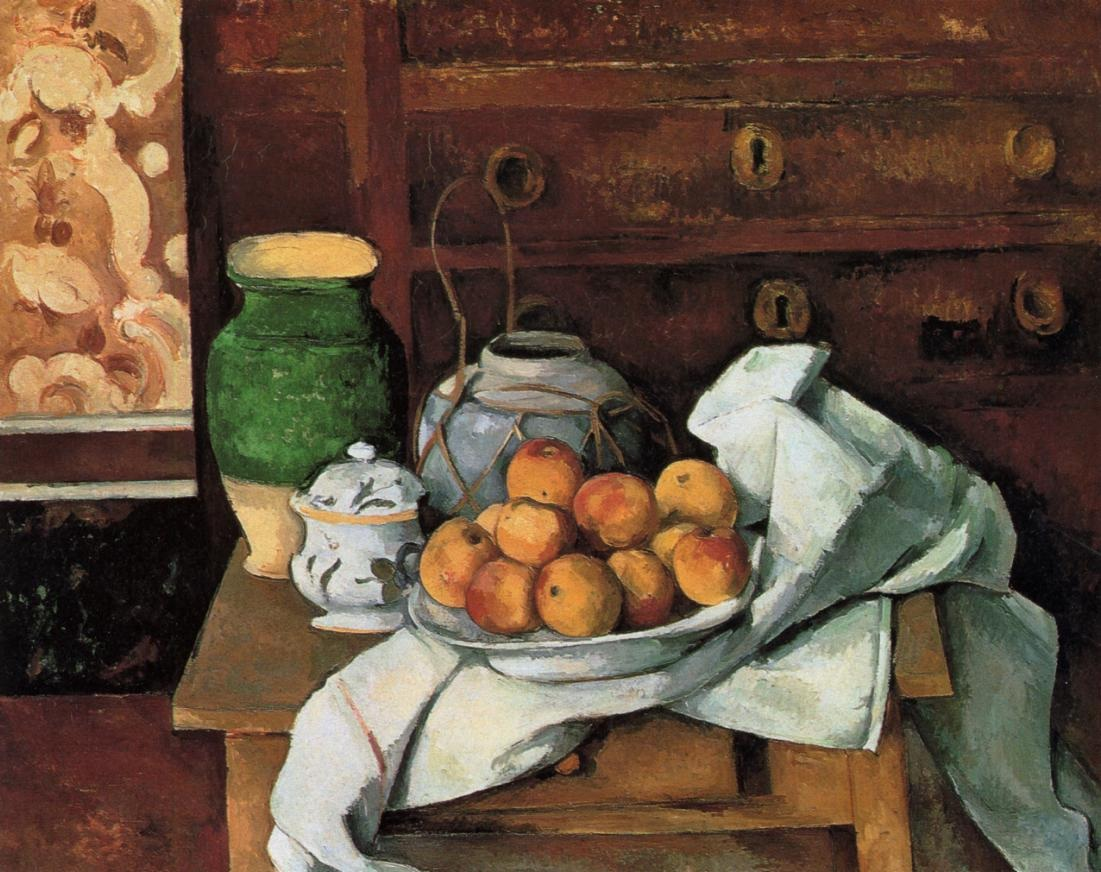 Vessels, Fruit and Cloth in front of a Chest