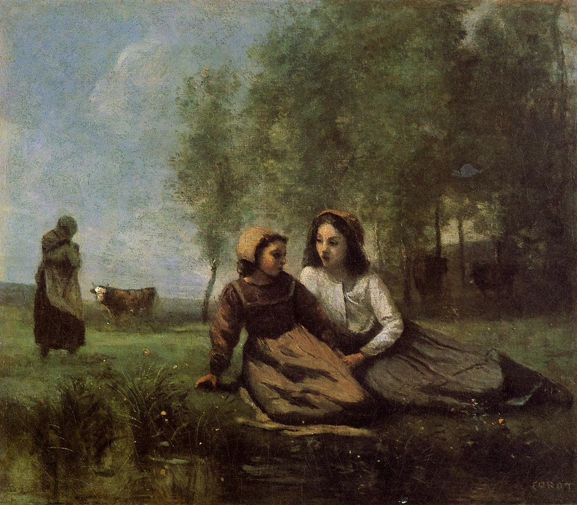 Two Cowherds in a Meadow by the Water
