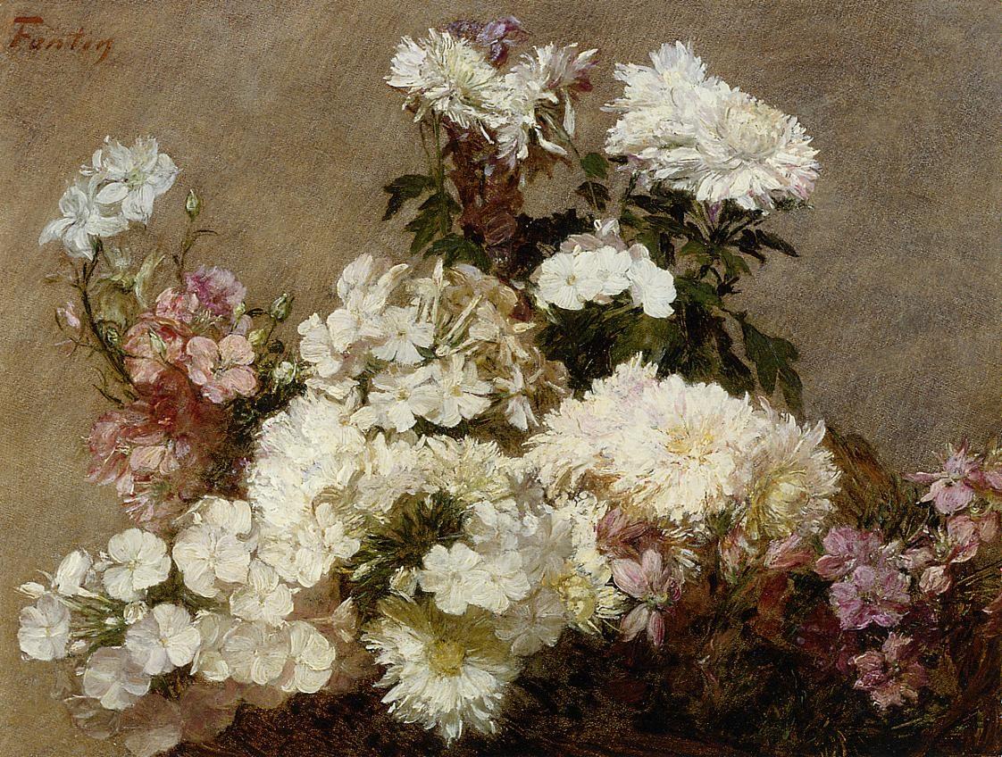 White Phlox, Summer Chrysanthemum and Larkspur