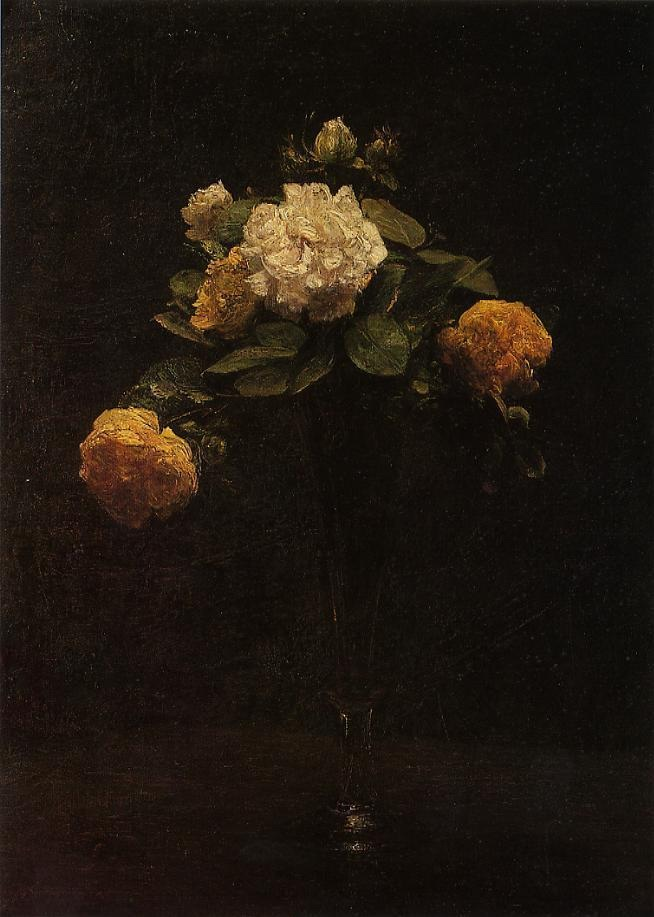 White and Yellow Roses in a Tall Vase