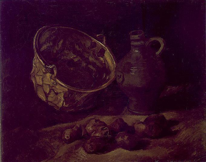 Still Life with Copper Kettle, Jar and Potatoes