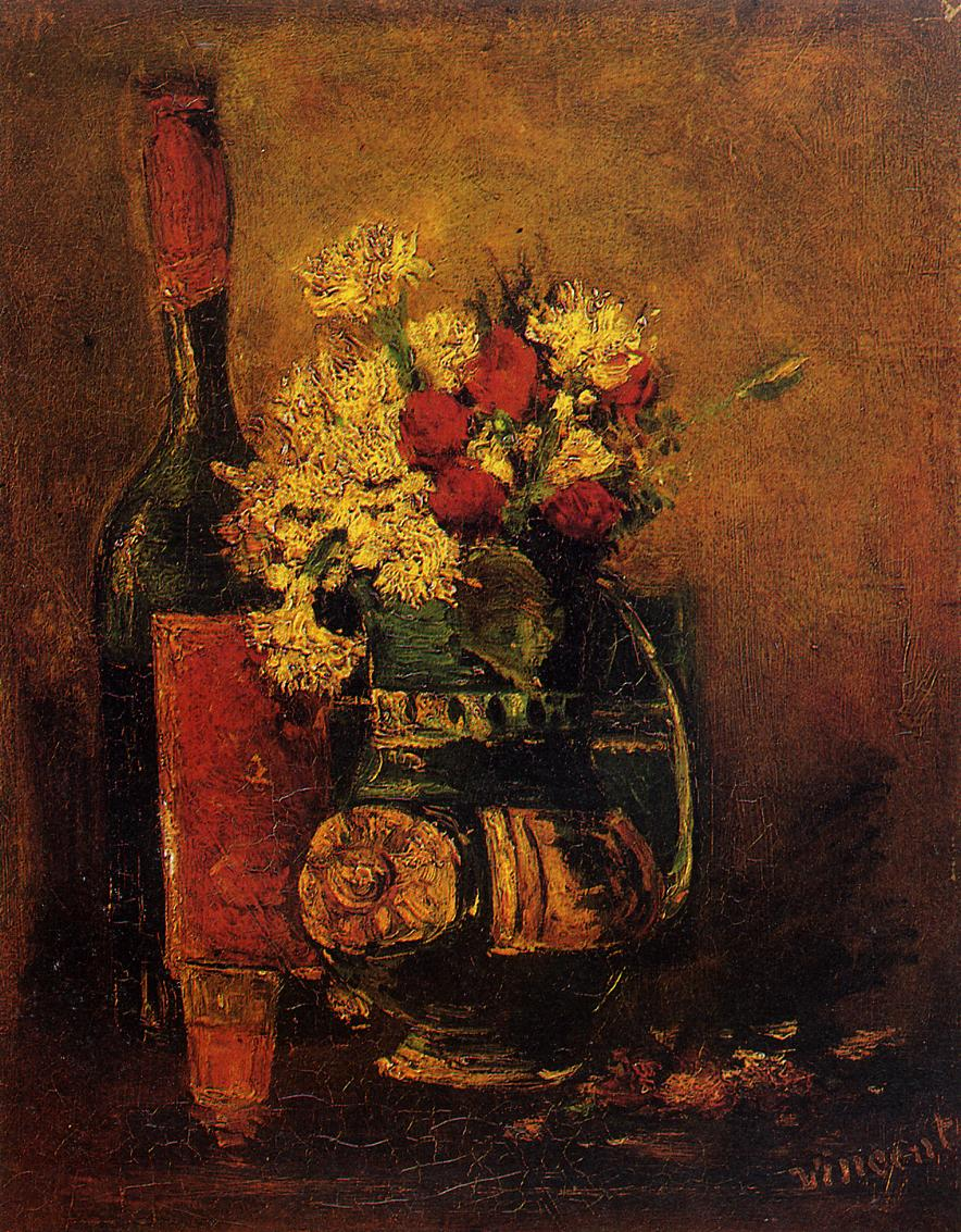 Vase with Carnations and Roses and a Bottle