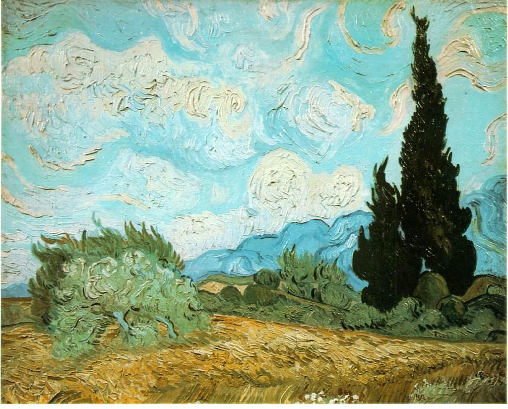 Wheat Field with Cypresses 2