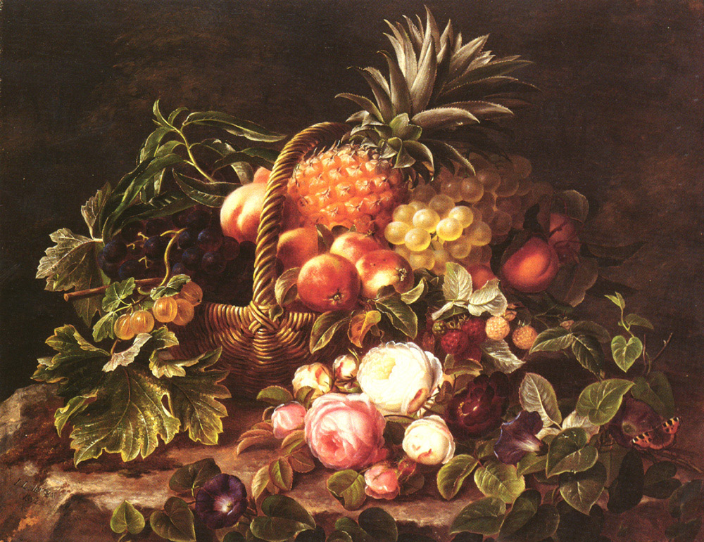 A Basket Of Fruit And Roses