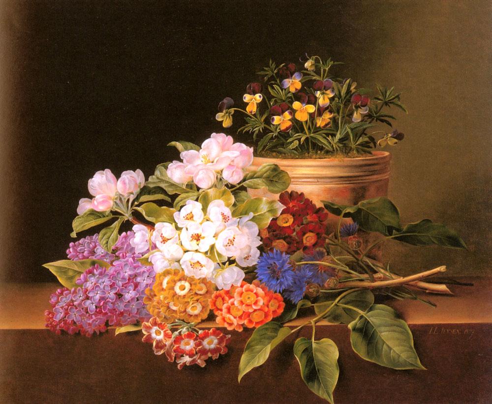 Apple Blossoms, Lilac, Violas, Cornflowers and Primroses on