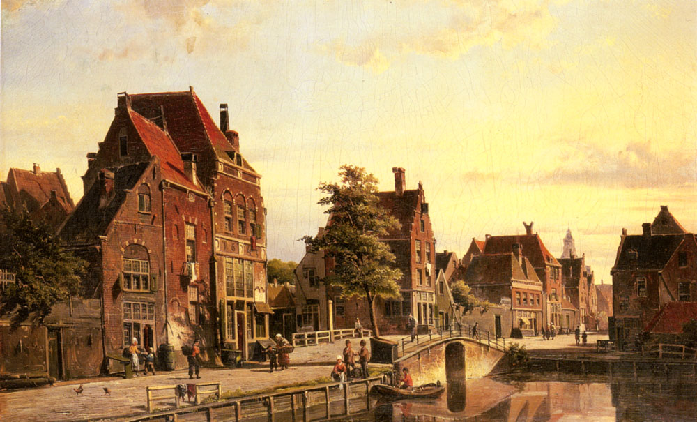Figures by a Canal in a Dutch Town