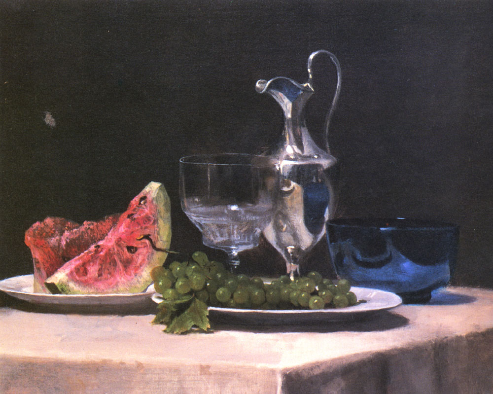 silver, glass and fruit