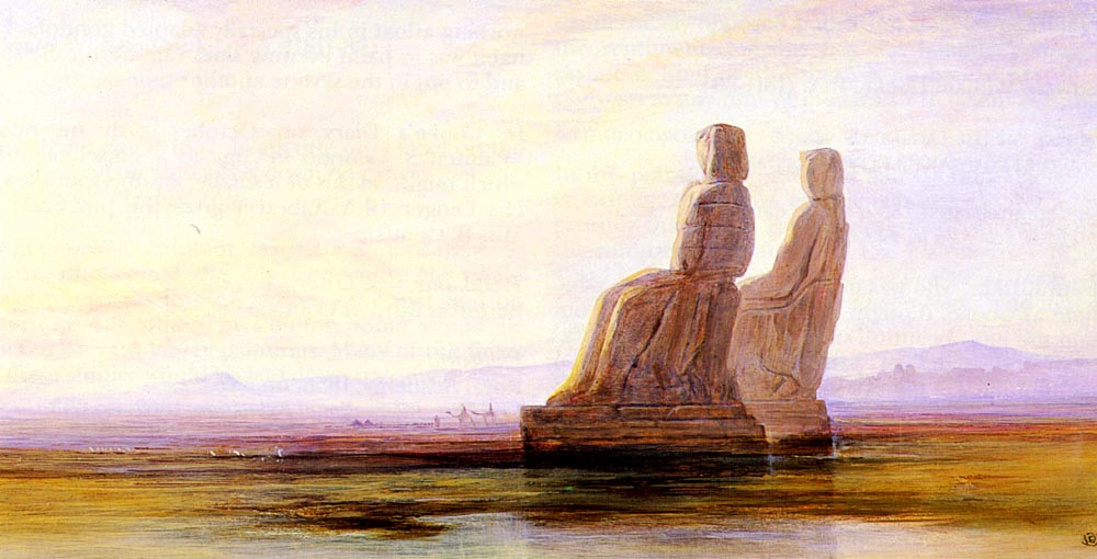 The Plain Of Thebes With Two Colossi