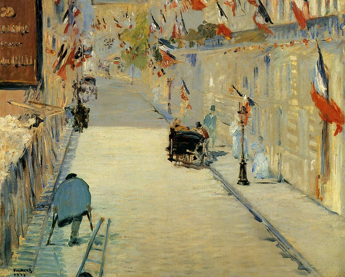 Rue Mosnier Decoreted with Flags, with a Man on Crutches