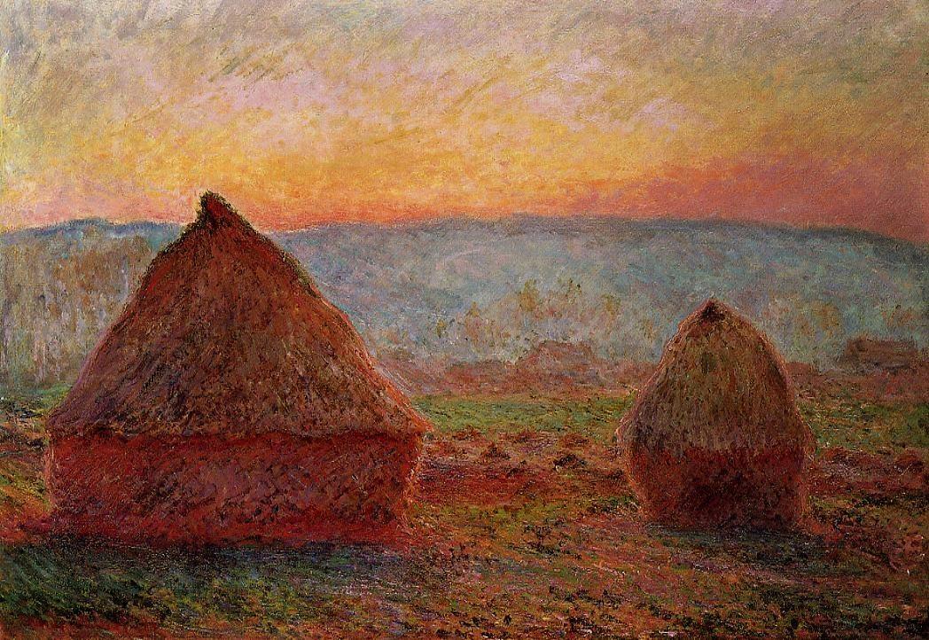 Grainstacks, Sunset