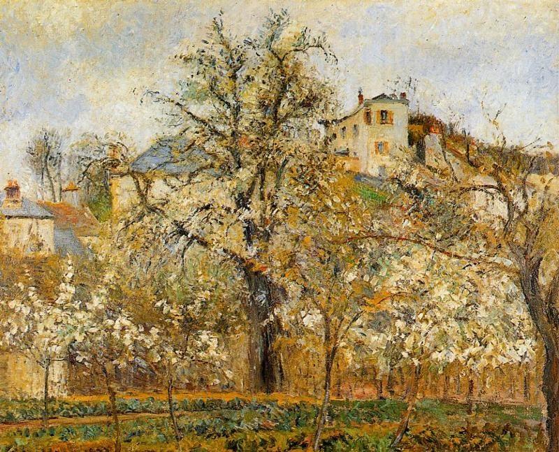 Kitchen Garden with Trees in Flower, Spring, Pontoise