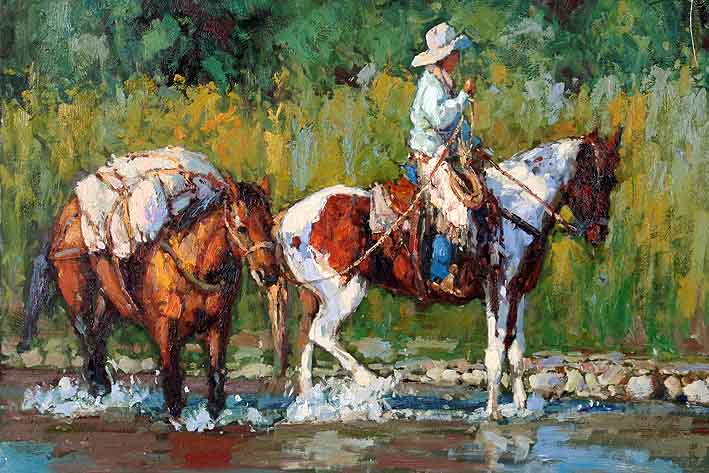 Cowboy Wading Horses Through the Creek,oil paintings on canvas