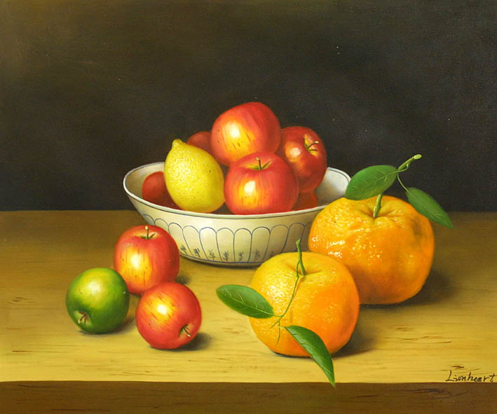 Still Life Of Citrus Fruit And Apples