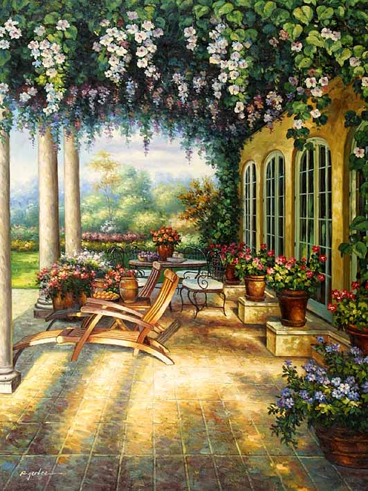 Floral Yard oil painting