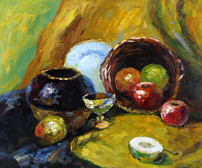 Still Life with a Pottery, a Glass Cup, and Fruit Pieces