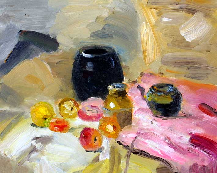 Still Life with Some Pots, a Bottle, and Fruit Pieces