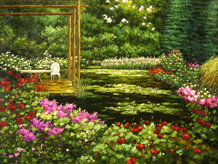 the flower yard - Flower Garden Paintings