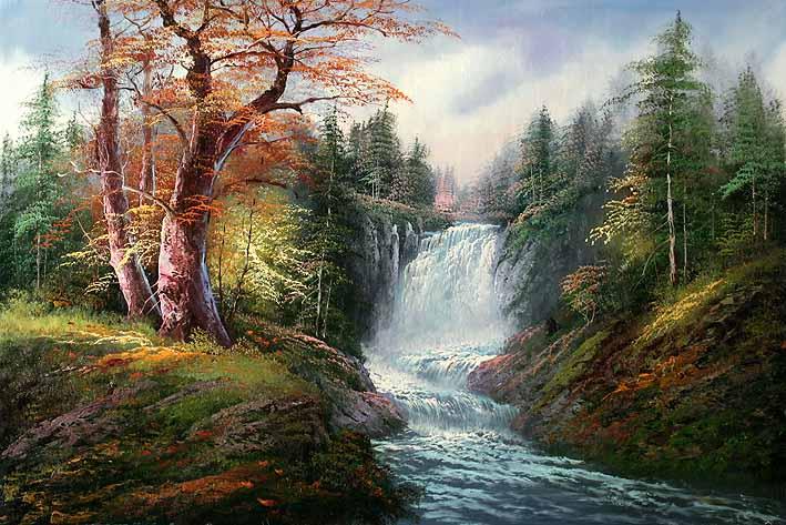 مجموعات لوحات Landscape Waterfall-landscape