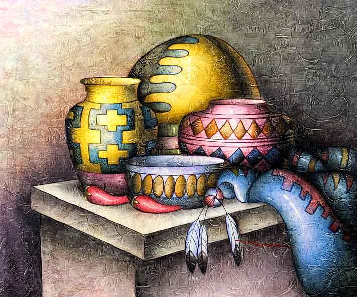 Still Life with Mayan Pottery