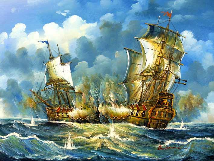 Sea Battle Scene