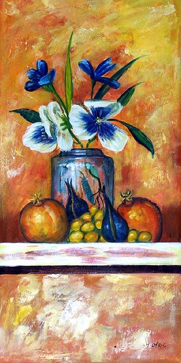 Vaso com Flores Azuis