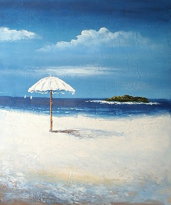 Sea painting: pergola on the beach