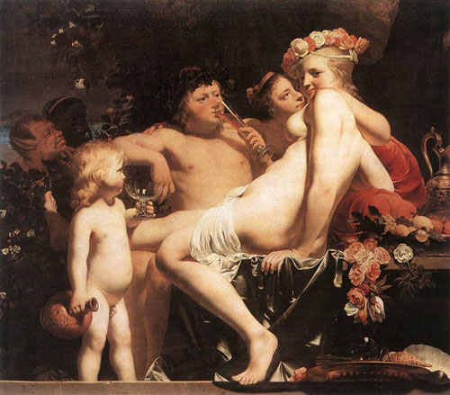 Bacchus with Two Nymphs and Cupid