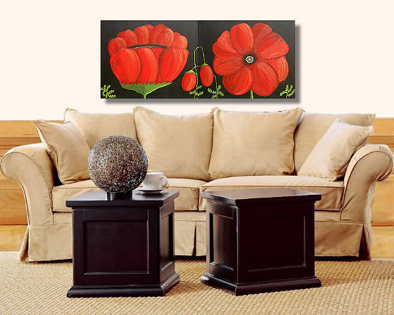Fine Art Shack and Art by US present Huge Contemporary Ultra Modern 2 Panel Red Pop Art Floral