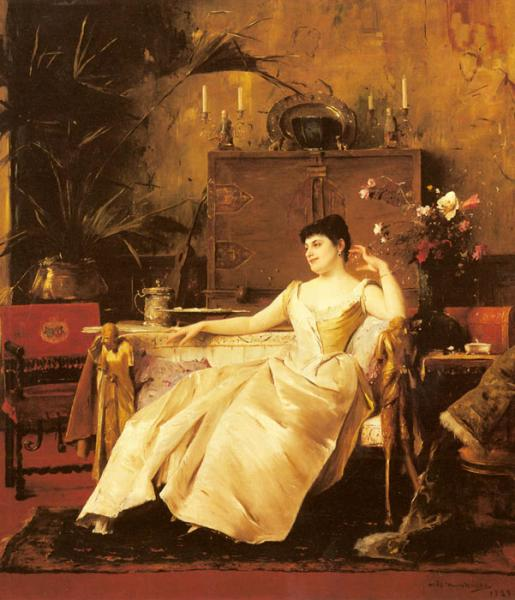 Oil Painting Reproduction of Munkacsy- A Portrait of the Princess Soutzo
