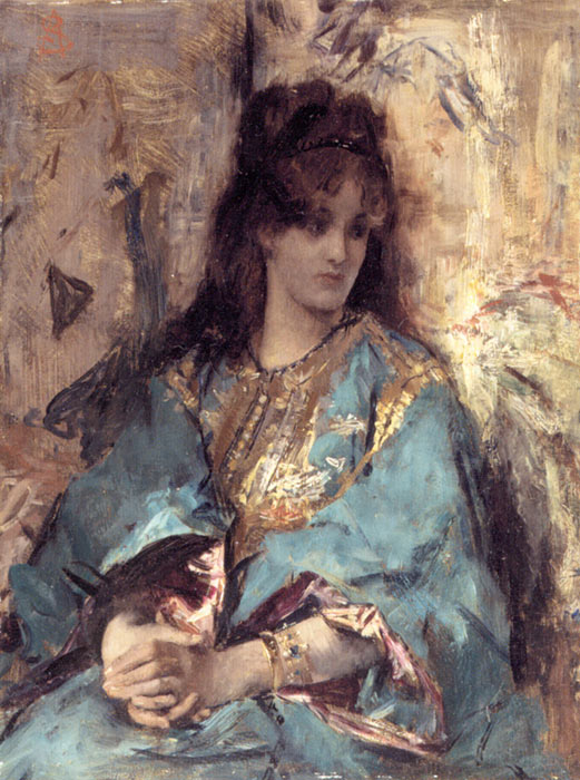 Oil Painting Reproduction of Alfred Stevens- A Woman Seated in Oriental Dress